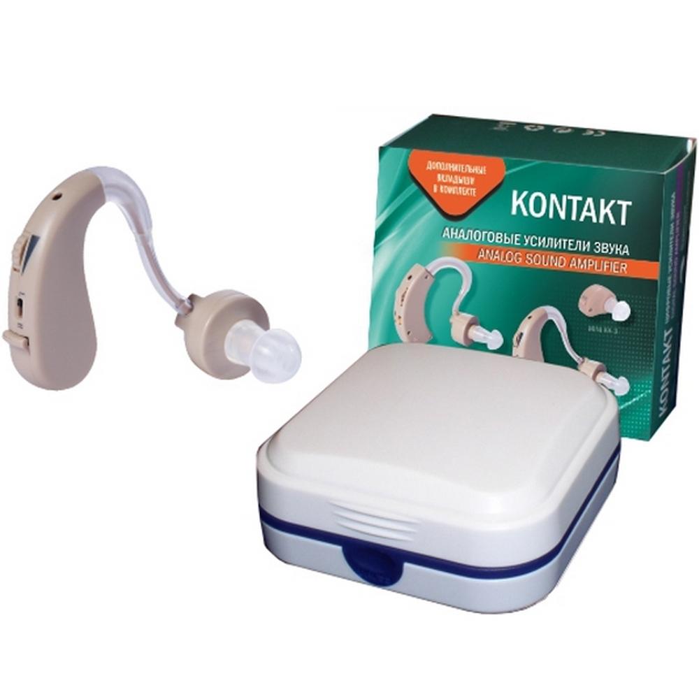 Слуховой аппарат аналоговый усилитель звука «KONTAKT»Слуховые аппараты<br>Слуховой аппарат KONTAKТ-2Т – это современный усилитель звука, обладающий отличными мощностными и эргономическими характеристиками. Модель данного аналогового усилителя звука весит 7 граммов и способна усиливать звук в радиусе до 10 метров. Современный высококачественный микрофон имеет плавную регулировку громкости, с помощью которой уровень звучания легко отрегулировать до требуемых параметров.<br>