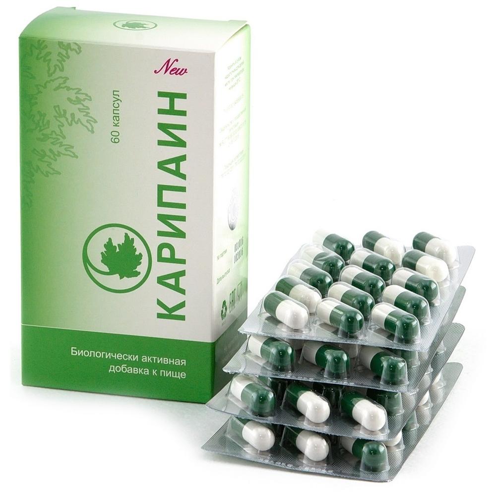 Карипаин БАД капсулы № 60Карипаин<br>Биологически активная пищевая добавка (Хондропротектор) «Карипаин» является мощным источником хондроитина, глюкозамина, марганца и витамина В6. С помощью данного уникального комплекса можно восстановить подвижность суставов и позвоночного столба, значительно улучшив свое физическое состояние. Натуральные компоненты «Карипаина» позволяют хрящевой ткани быстро регенерировать и вырабатывать новые строительные клетки для суставной жидкости. Эффективность и безопасность препарата подтверждена клиническими исследованиями. Консервативное лечение межпозвоночных грыж с применением «Карипаина» позволяет уменьшить и размягчить их, в результате чего уходят болевые ощущения, а защемленные нервы освобождаются. Курс лечения - 1 упаковка в месяц.<br>