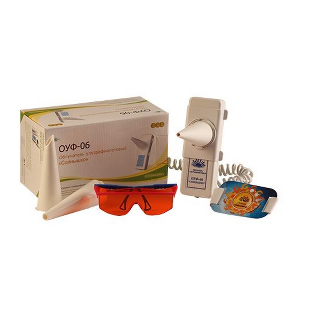 Облучатель ультрафиолетовый кварцевый «Солнышко»Ультрафиолетовые лампы<br>Ультрафиолетовый портативный облучатель ОУФ-06 «Солнышко» - это легкая и компактная модель, предназначенная для бактерицидной обработки небольших помещений и терапии ряда заболеваний. С ее помощью выполняют внутриполостное кварцевание ультрафиолетовым излучением, безвредным для человеческого организма. ОУФ-06 «Солнышко» удобно применять в домашних условиях, минимизируя риск распространения вирусов, грибков, аллергенов, плесени и других болезнетворных бактерий.<br>