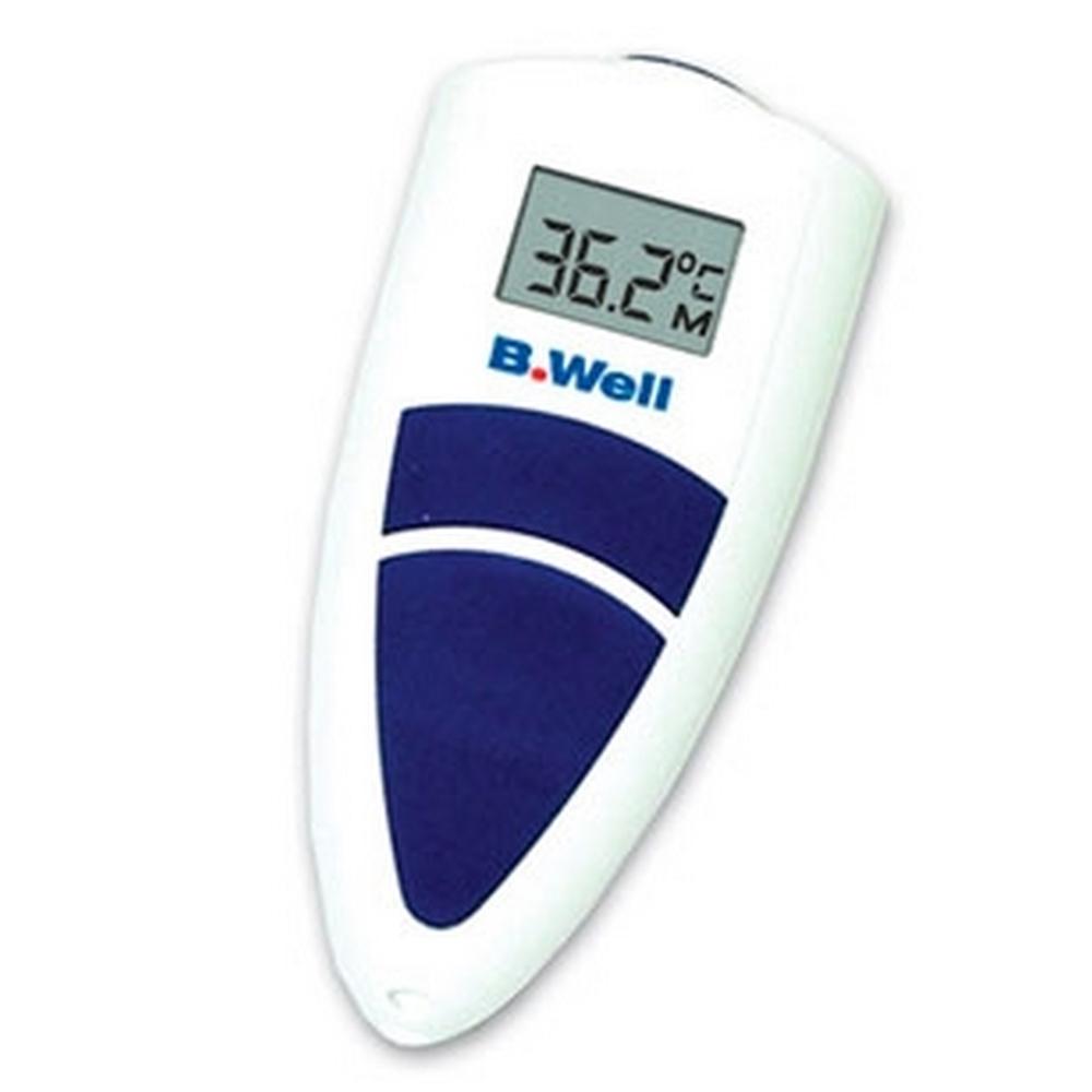 Термометр лобный инфракрасный для детей «B.WELL»Термометры<br>Обычно дети довольно категорично и капризно относятся к процессу измерения температуры. Ведь редкому ребёнку хочется неподвижно сидеть кажущиеся вечностью почти 10 минут, удерживая под мышкой хрупкий ртутный термометр. И чтобы узнать этот важный жизненный параметр малыша, родители идут на самые различные ухищрения.<br>