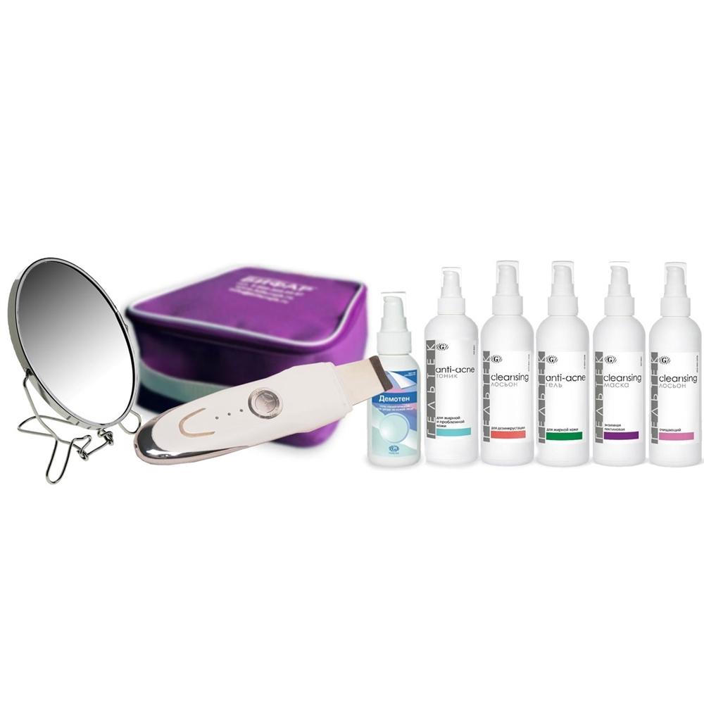 Гельтек-Медика Готовый набор Anti-acne с ультразвуковым пилингом программа комплексной ультразвуковой очистки лица для жирной кожи