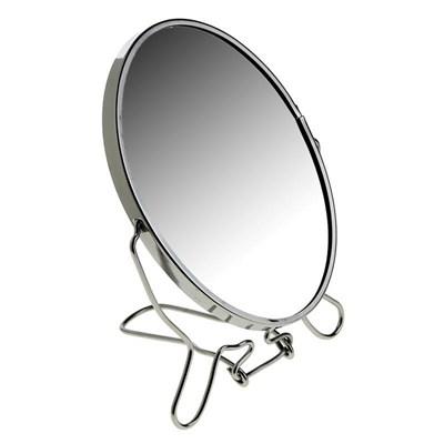 Зеркало настольное металлическое увеличительное двухстороннее круглое - фото 10323