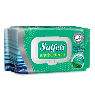 Влажные салфетки антибактериальные SALFETI antibacterial с клапаном, упаковка 72 шт.