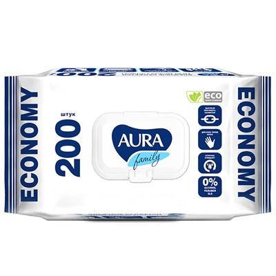 Влажные салфетки Aura Family для всей семьи с антибактериальным эффектом, упаковка 200 шт.
